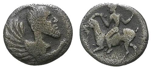 Ancient Coins - gF/gF Sicily Himera AR Litra / Monster / Man riding goat