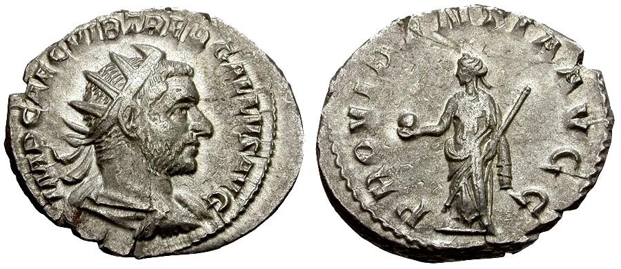 Ancient Coins - Trebonianus Gallus AR Antoninianus / Providentia