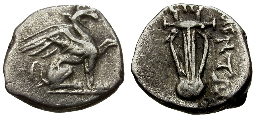 Ancient Coins - Ionia. Teos AR Diobol / Griffin and Lyre