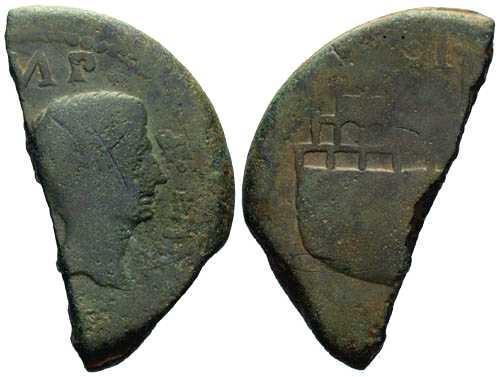 Ancient Coins - Julius Caesar & Octavian Dupondius cut for ancient small change