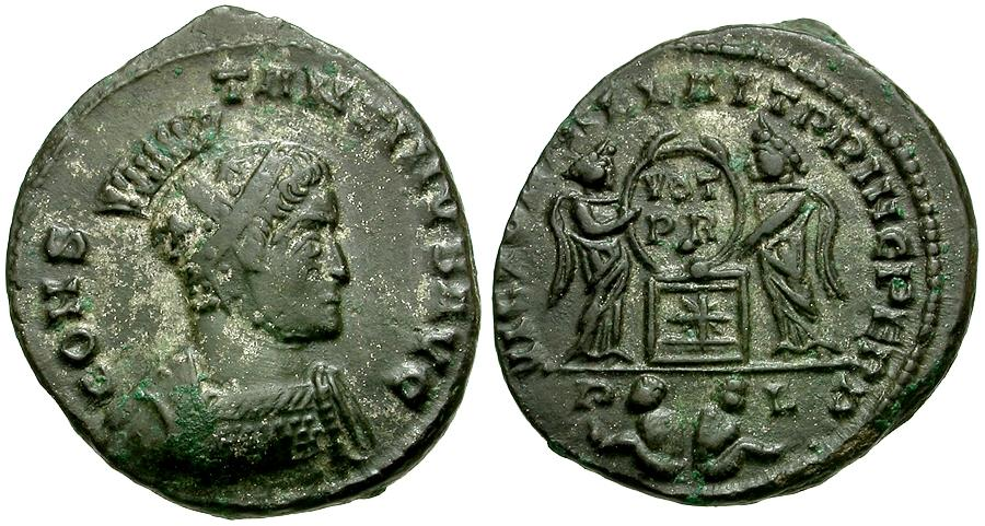 Ancient Coins - Constantine I the Great Æ3 / Two Victories