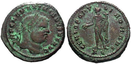 Ancient Coins - aVF/aVF Maximianus Large Follis / Genius
