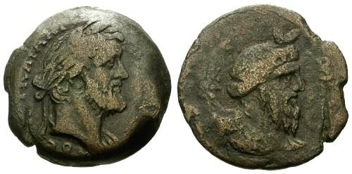 Ancient Coins - aVF/aVF Antoninus Pius AE Drachm Egypt Alexandria / Nilus