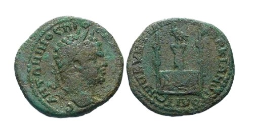 Ancient Coins - F/F Caracalla AE24 Marcianopolis / Decorated table