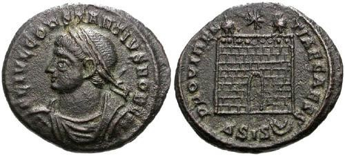 Ancient Coins - VF+ AE3 of Constantius II / Campgate