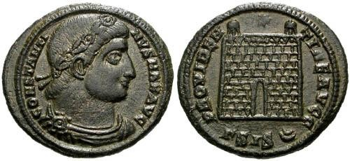 Ancient Coins - gVF Constantine I AE3 / Campgate