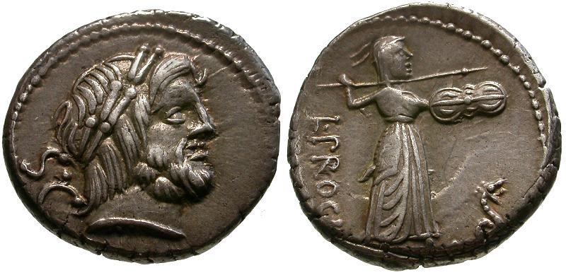 Ancient Coins - 80 BC - Roman Republic L. Procilius AR Denarius / Sospita