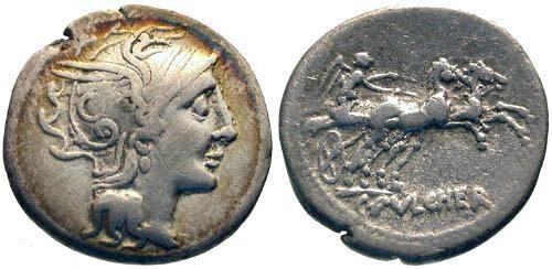 Ancient Coins - aVF/aVF Claudia 1 Roman Republic Denarius / Victory in Biga