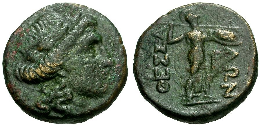 Ancient Coins - Thessaly.  Thessalian League Æ21 / Apollo / Athena