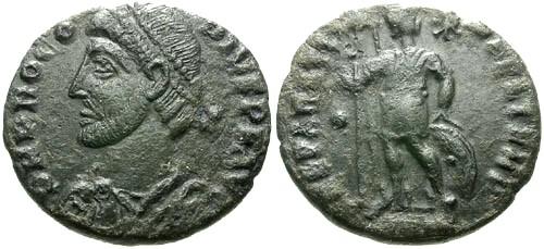 Ancient Coins - VF/aVF Procopius Copper As / Emperor standing