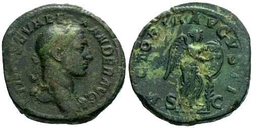 Ancient Coins - aVF/aEF Severus Alexander Sestertius / Victory