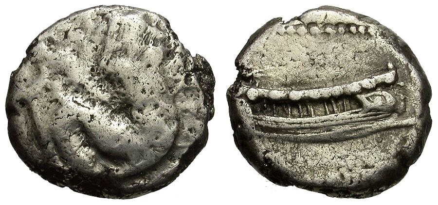 Ancient Coins - Phoenicia.  Arados AR Fouree Tetrobol / Merman