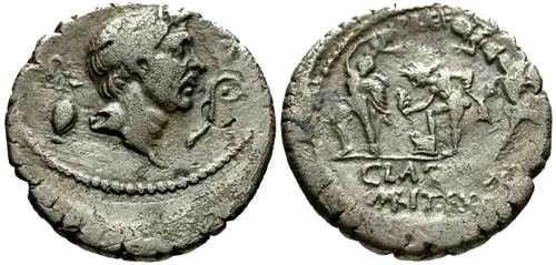 Ancient Coins - VF/aVF Sextus Pompey Denarius / Portrait