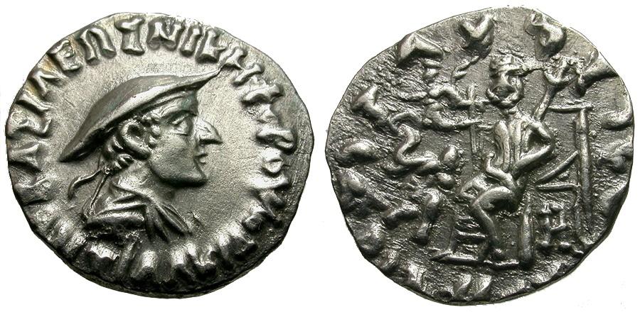 Ancient Coins - Kings of Baktria. Antialcidas AR Light Drachm / Zeus and Elephant