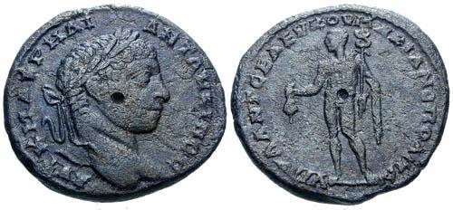 Ancient Coins - aVF/aVF Elagabalus AE26 Marcianopolis / Hermes