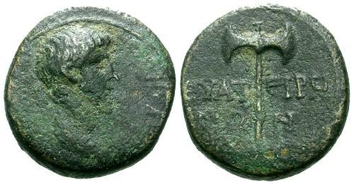 Ancient Coins - aVF/aVF Nero Lydia Thyatira AE17 / Double Axe