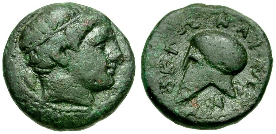 Ancient Coins - Macedon. Skione Æ18 / Helmet