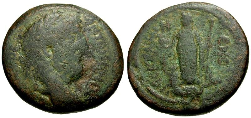 Ancient Coins - Antoninus Pius, Judaea Ascalon Æ28 / Lindgren Plate Coin