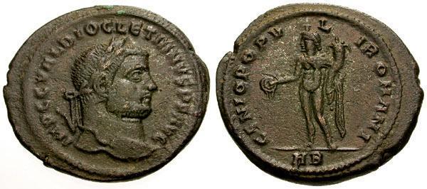 Ancient Coins - aEF/aEF Diocletian Æ Follis / Genius