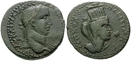 Ancient Coins - VF/VF Severus Alexander Mesopotamia Nesibi AE28 / Tyche