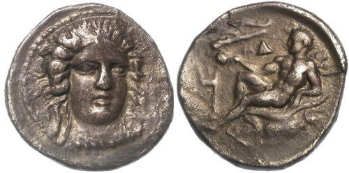Ancient Coins - VF/aVF Bruttim Kroton Stater or Didrachm / Herakles Reclining