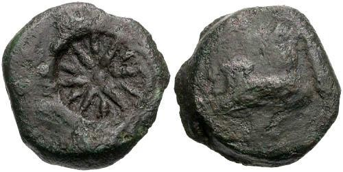 Ancient Coins - VG/VG Pantikapaion AE / Pan and Star Counterstamp