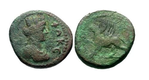 Ancient Coins - gF/aF Autonomous Imperial Era AE16 Ionia Phokaia / Griffin