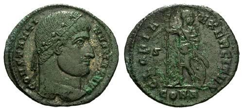 Ancient Coins - VF/F Constantine the Great / Soldier Standing R3