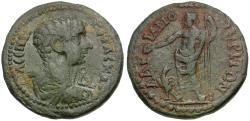 Ancient Coins - Geta, as Caesar (AD 198-209) Mysia. Hadrianothera Æ24 / Zeus