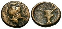 Ancient Coins - gF+/gF+  Lucania, Thourioi Æ10 / Athena / Bucranium