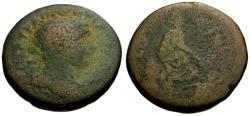 Ancient Coins - gF/F Trajan, Phoenicia, Akko-Ptolemais Æ24 / Tyche seated