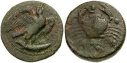 Ancient Coins - Sicily.  Akragas Æ Hemilitron / Eagle and Crab