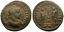 Ancient Coins - Maximianus Æ Antoninianus / Jupiter presenting Victory to Emperor