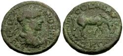 Ancient Coins - VF/VF Severus Alexander, Troas Alexandria Æ25 / Horse Grazing