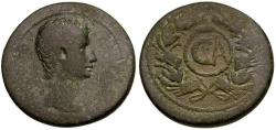 Ancient Coins - Augustus. Uncertain Asian Mint Æ AS / Rostral Wreath