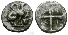 Ancient Coins - Ionia. Teos AR Hemiobol / Griffin