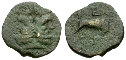 Ancient Coins - Sicily. Panormos Æ23 / Wolf and Twins