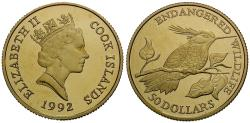 World Coins - Cook Islands. Gold 50 Dollars / Bee Humming Bird