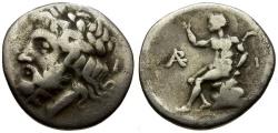 Ancient Coins - Arkadia.  Megalopolis AR Triobol / Pan Seated