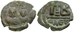 Ancient Coins - *Sear 853* Byzantine Empire. Heraclius (AD 610-641) with Heraclius Constantine Æ 12 Nummi