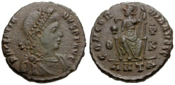 Ancient Coins - Gratian.  Æ3 / Roma seated