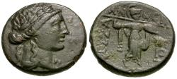 Ancient Coins - Thessaly. Thessalian League Æ20 / Athena