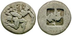 Ancient Coins - Islands of Thrace. Thasos AR Drachm / Satyr & Nymph