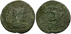 Ancient Coins - Gordian III. Cilicia. Tarsos Æ37 / Lion Attacking Bull