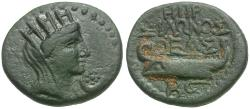 Ancient Coins - Phoenicia. Sidon. Pseudo-autonomous issue. Time of Vespasian Æ15 / Tyche and Galley