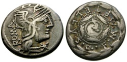 Ancient Coins - 127 BC - Roman Republic.  M. Caecilius Metellus Q. f. AR Denarius / Macedonian Shield