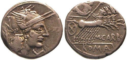 Ancient Coins - aVF/aVF Papiria 6 Roman Republic Denarius / Jupiter in Quadriga