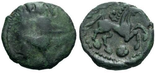 Ancient Coins - F/VF Bellovaci Tribe Bronze / Running Cubist l.