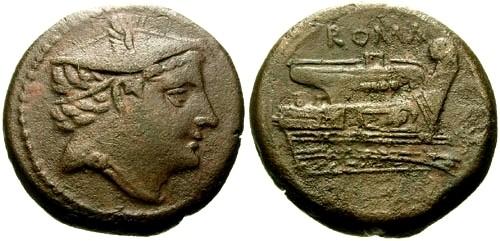 Ancient Coins - VF/VF 210 BC Roman Republic AE Semuncia