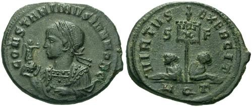 Ancient Coins - EF/EF Constantine II / Standard and Captives  R4